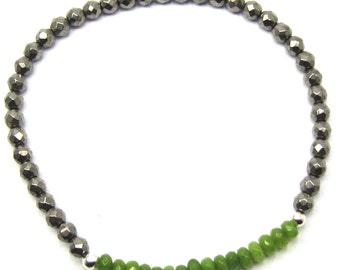 Light Green Gemstone and Glass Beaded Stacking Bracelet