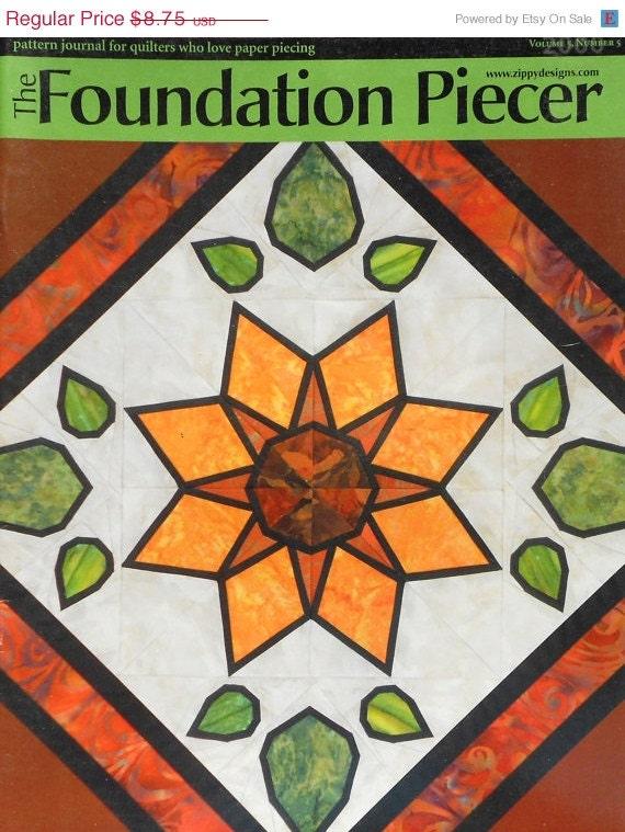 ON SALE Stained Glass Sunflower THE Piecer Foundation Liz Schwartz & Stephen Seifert Quilter Magazine - Volume 5 Number 5