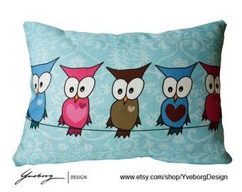 """Owl Pillow Case - Decorative Pillow Case - 16x12"""" - Cute owls - Owls in line blue bkgr"""