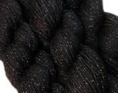 glitter calzino filato perla nera tinti a mano, sw merino nylon stellina diteggiatura peso 3,5 oz 435 iarde