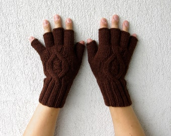 Mens Fingerless Gloves - brown Cable pattern  Gift For Him Knitted Mens Gloves Cable knit mens fingerless gloves