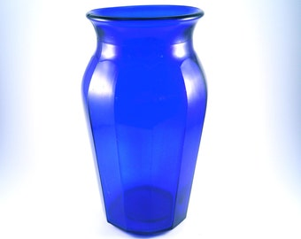 Blue Indigo Glass Vintage Vase
