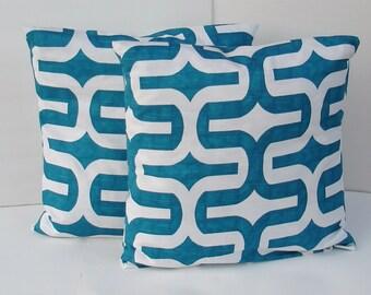 Set of 2  Decorative Pillow Covers--Designer Fabric Aqua Blue geometrical - 18x18