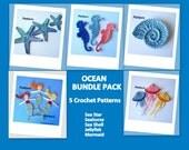 Ocean Bundle Pack- 5 Crochet Appliques PATTERNS
