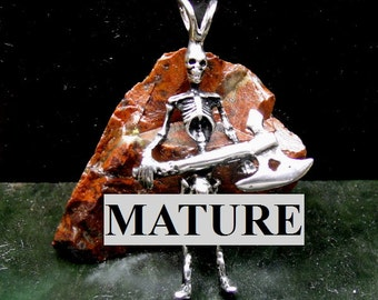 Mature Big Penis Skeleton With Viking Ax Pendant  Solid Sterling Silver Free Domestic Shipping