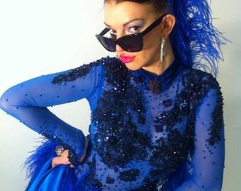 Ballroom Dance Dress of Royal Blue Color      Ballroom Dresses