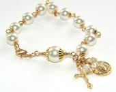 Rosary Bracelet in Cream Swarovski Crystallized Elements™ Pearls, St Michael Charm