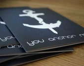 Valentines Fathers Day Card You Anchor Me - Love Greeting Card Thank You - Nautical Navy Blue Friendship Art Card For Dad