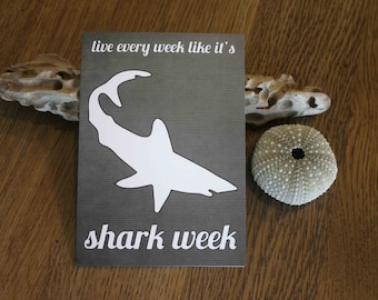 Funny Shark Week Birthday Card - Friend Greeting Card - Humorous Charcoal Gray