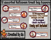 12 Halloween treat bags Assorted decals Party Decorations favors trick or treat bat witch pumpkins