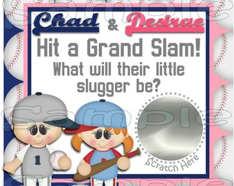 Baby Gender Reveal scratch off cards Pregnancy announcement cards Baseball gender announcement cards Baby boy Baby girl 12 Precut Printed