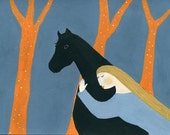 Whisper - horse illustration art print women black horse blue orange dream like equestrian art playroom decor colorful gift for horse lover