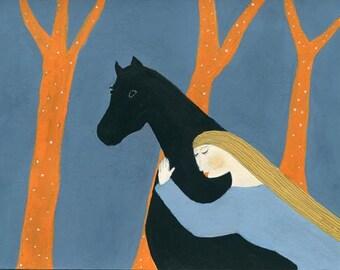 Whisper - horse illustration art print women black horse blue orange dream like equestrian art playroom decor colorful gift for horse lover