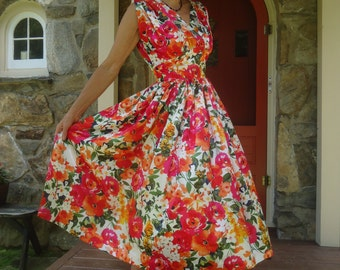 Satin floral print party dress full skirt fitted midriff Rockabilly Swing 50's brand new vintage reproduction from 1952 dress pattern size S