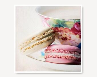 Pastel Macaron Photo teacup tea and macaroon photo macaron print, teacup, shabby chic, Food Art, Kitchen Art, sweet, dessert, dreamy, foodie