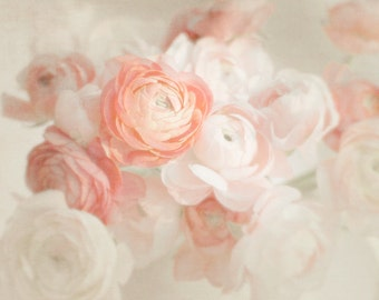 Pale Peach Flower Print, flower photography, shabby chic, cottage home decor, baby girl nursery art  floral, flower photography girls room