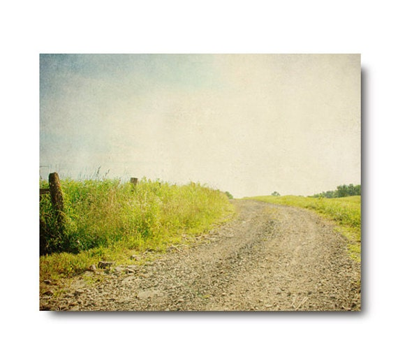 Country Landscape Photography, dirt road, rustic art, lime, green, field, blue sky, clouds, farmhouse chic, country decor