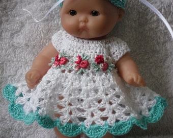 Crochet pattern for Berenguer 5 inch baby doll dress set handmade