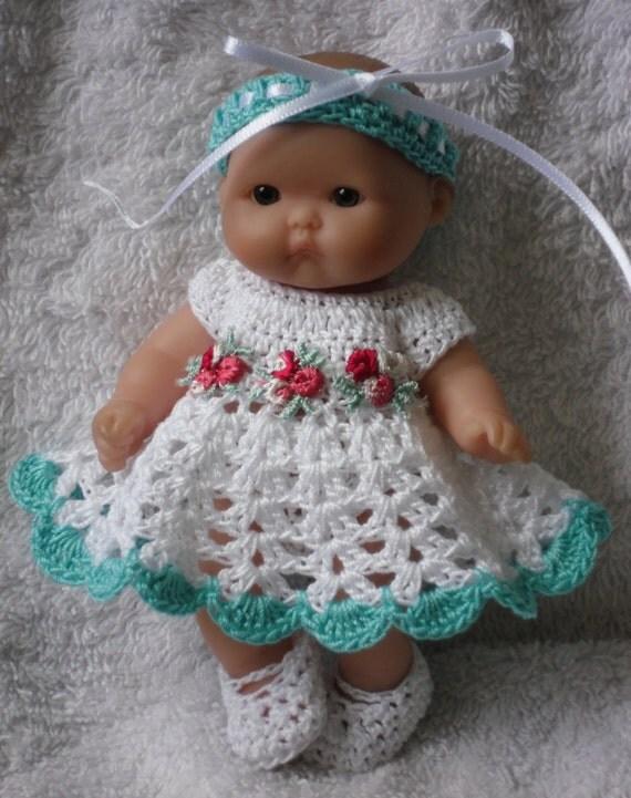 Crochet Pattern Baby Doll Clothes : Crochet pattern for Berenguer 5 inch baby doll dress set
