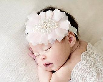 Baby Gift Christening Headband  Baby Baptism Headband Baby Shower Gift White headband