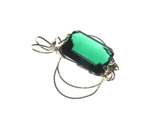 Wire Wrapped Green Amethyst Silver Pendant