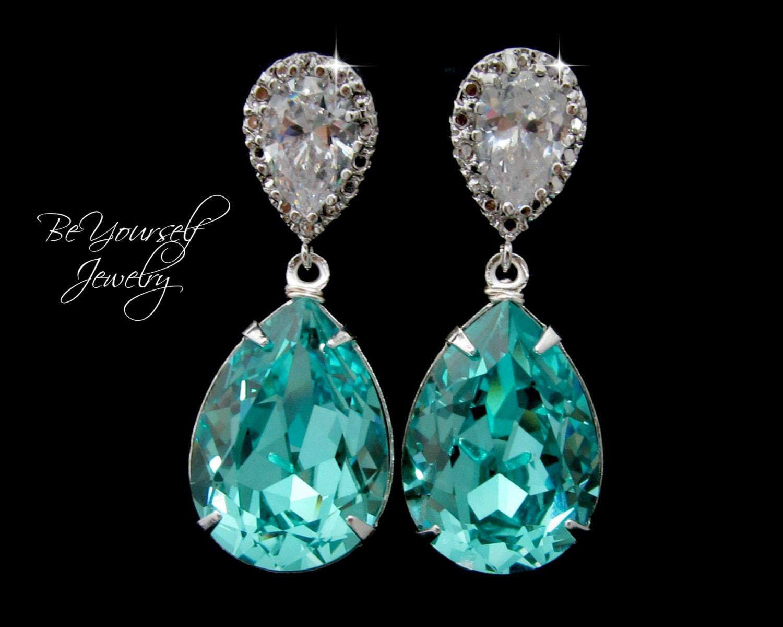 Teal Blue Bridal Earrings Sea Green Teardrop Bride Earrings
