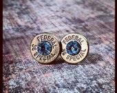 Bullet Stud Earrings- Brass and Light Blue
