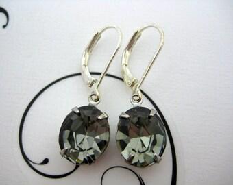 Swarovski Crystal Rhinestone Black Diamond Earrings Set in Silver Settings