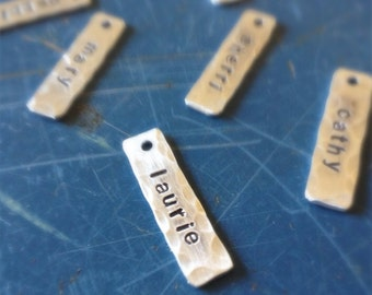 Hand stamped bar charm, 1 inch rectangle tag, name tag, wine charm, word of the year