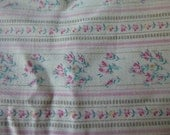 Vintage pink heavy ticking fabric from old standard pillow Tiny stripes and floral detail