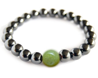 New Jade - LIBRA Zodiac Bracelet, Magnetic Hematite Energy Gemstone, Astral Stone, Yoga Stack Mediation Bracelet, Focus Stone, 8mm mala