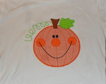 Happy Pumpkin Custom boutique appliqued monogrammed personalized, boys, girls, t shirt, one piece w/snaps, thanksgiving, fall