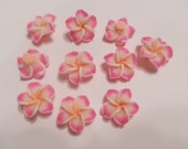 20 Pink Yellow Plumeria Polymer Clay Flower Shaped Beads 22mm