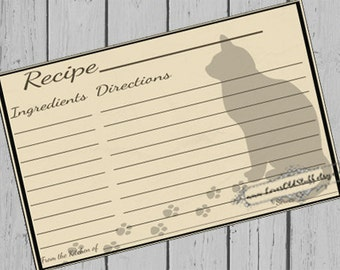 Cat Printable Recipe Card 3.5x5 | 3x5 Blank Recipe Cards | 4x6 Recipe Card Template | Pet Party Favors | Hostess Gifts