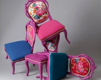 4 x crafted dining chairs - Chinese peony