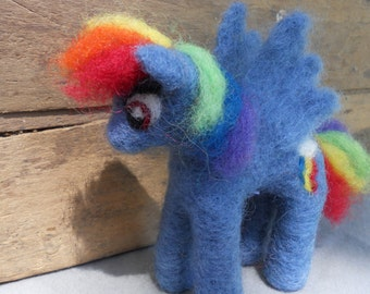 Felt Rainbow Dash Figurine / Needle Felted My Little Pony Plush / MLP Friendship is Magic Toy / Cartoon Character