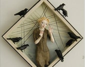 "Ooak Mixed Media Art Doll Sculpture - ""Murder"" - based on Hitchcock's ""The Birds"""