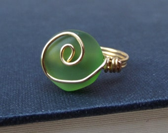 Green Sea Glass Ring:  St. Patricks Day Jewelry, 24K Gold Swirl Spiral Wire Wrapped Beach Jewelry, Emerald Bottle Green Ring, Size 6.5