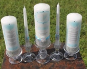 Blue Unity candle set with candles for Groom's mom and Bride's mom..........holders included