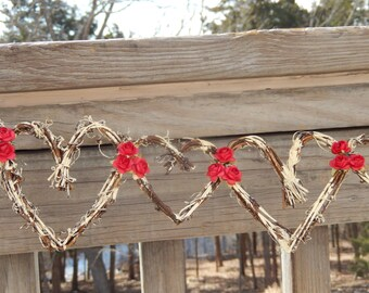 Rustic Bridal Shower Decor, Hearts Vine Garland, Winter Wedding, 5ft