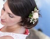 Peach Velvet Rose, Wedding clip, Vintage Millinery Hair Clip
