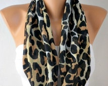 Leopard Print Infinity Scarf,  Shawl Circle Scarf Loop Scarf Gift For Her, Women's Fashion Accessories, best selling item