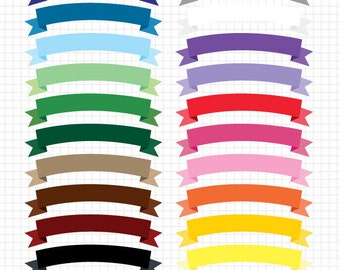 Clip Art Ribbon Banners Instant Digital Download Commercial Use