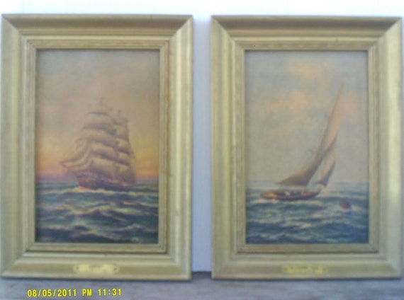 Antique Nautical Maritime Prints / E Pritchard Framed Boat Pictures