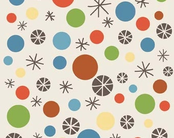 Scoot Fabric, Riley Blake by Deena Rutter, Cream Abstract Starbursts Circles, Yard