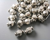 CHARM-AS-BRRL-10MM - 10 pcs Antiqued Silver Octagon Shaped Bead Spacer