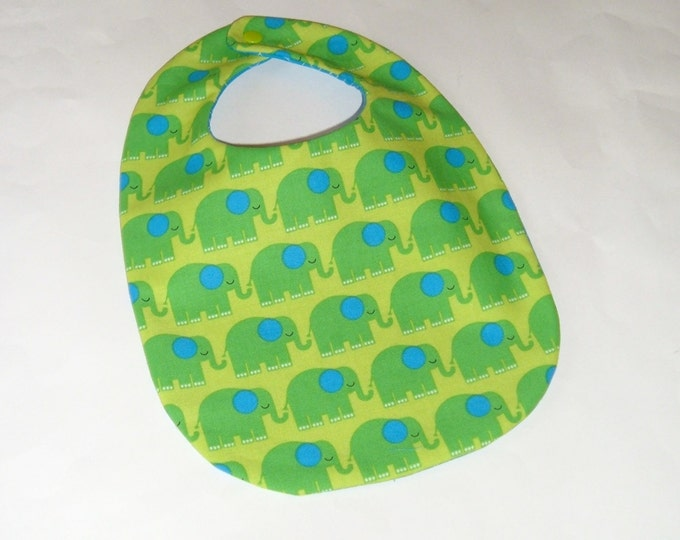 Baby Bib-Baby Elephants-Blue and Green-New Baby Gift