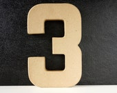 DIY Paper Mache Number Three 3 (8 inches tall) - Ready to Decorate Blank Number | Home Decor | DIY Wedding Table Number