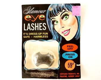 Vintage Glamour Eye Lashes, Halloween Costume Collectible in Original Package (c.1970s) - Halloween Decor, Collectible Toy, Altered Art