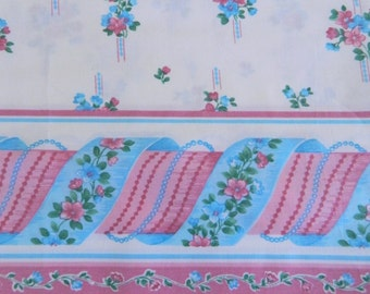 Vintage 60s  Border Print Fabric Remnant ... 1960s Floral Material  .... 2 Yards